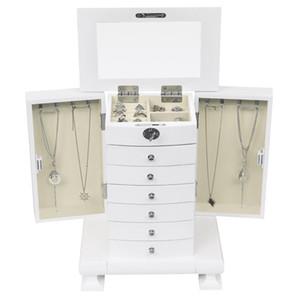 penteadeira Europeu caixa estilo vintage jóias armário de armazenamento caixa de jóias de madeira feito à mão, de madeira 7 camadas, com 6 gavetas, branco