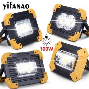 100W llevada portable Proyector 3000lm super brillante LED de trabajo Luz recargable para acampar al aire libre por Lampe 18650