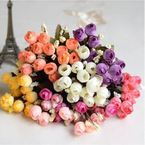 15Heads Mini Silk Peony Artificial Flowers Bride Bouquet Fake Rose bouquet flores For Wedding Home Party Decoration