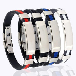 DHL epacket Men's silicone bracelet trendy men's fashion stainless steel jewelry wholesale DJFB383 ID, Identification jewelry bracelets