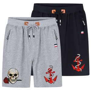 Skull Embroidery Cotton Short Pants Men Hot Sale Casual Beach Shorts Quality Bottoms Elastic Waist Boardshorts Plus Size 5XL