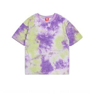 OcEBl DK tide T-shirt hip-hop 2020 new summer clothes Children's National tide boys' tie-dyed short sleeve T-shirt medium and large children