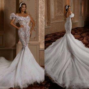 Arabic See Through Mermaid Wedding Dresses 2020 Backless Tulle Sexy vestidos de novia Lace Bridal Gowns robes de mariée