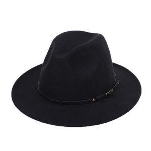 Новая мода Женская рать войлока Outback Hat Panama Hat Брим Wide Пряжка Fedora Ковбойские шляпы Черный Оранжевый Желтый Хаки