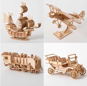 الليزر قطع إبحار السفينة الطائرة في البخار قاطرة ألعاب 3D لغز خشبي الخشب الجمعية أطقم مكتب ديكور للأطفال الأطفال