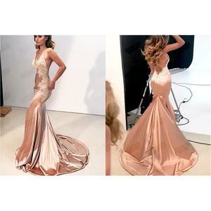New deep V lace backless hip waist fish tail evening dress wedding dress