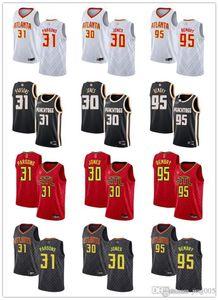 Womens GençlikAtlantaHawks31 Chandler Parsons 30 Damian Jones 95 DeAndre' Bembry Kırmızı siyah özel yapım Basketbol Formalar
