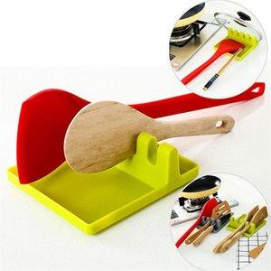 Utensile da cucina Resto Spoon Pan Pot coperchio di pentola Pala Holder Strumenti plastica del commestibile Ripiano grigio e verde di trasporto