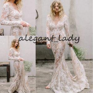 Champagne Forro vestidos de boda de Boho 2021 apliques de encaje con cuello en V manga larga sirena País Bohemain novia de la playa vestidos de boda
