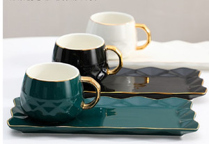 2020 hot sale European style golden border light luxury color glaze ceramic coffee cup set afternoon tea household Mug tray with spoon Drink