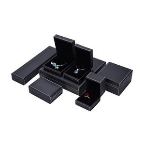 Black stitch custom pendant necklace box packaging luxury