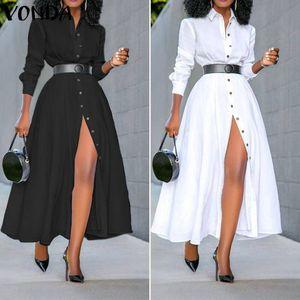 Allentato manica lunga camicia di vestito 2020 dell'annata delle donne VONDA colore solido di modo Abiti Ufficio del partito Split lungo sexy Vestidos 5XL
