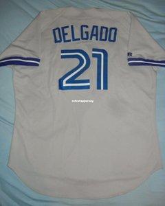 Pas cher Retro Top Russell Athletic # 21 CARLOS DELGADO Toronto gris Jersey 48 1996 Hommes Cousu maillots de base-ball