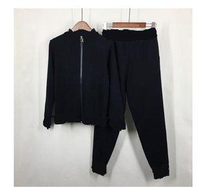 2020 novo design de moda carta das mulheres impressão coat estande malha camisola gola e calças compridas primavera twinset outono plus size S M L