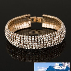 Fashion Full Rhinestone Jewelry for Women Classic Crystal Pave Link Bracelet Bangle Wedding Party Accessories
