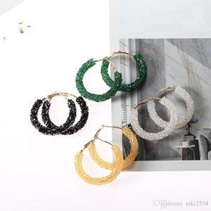 2019Vintage Korean Big Earrings for Women Female Fashion Gold Cubic zirconia Drop Dangle Earring Geometric earings Jewelry