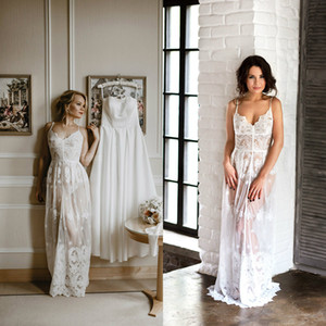 Spaghetti Women Sexy Bathgown Lace Illusion Bridal Bathrope Wedding Prom Party Bathrobes Pyjams Robes Women Pajama