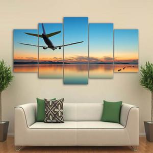 5 paneles grandes de Wall Art avión en el aeropuerto Imágenes del paisaje del extracto de la lon Pintura para la sala de estar moderna decoración del hogar
