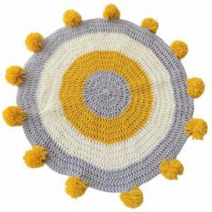 Fatto a mano Tappeto rotondo cerchio lavorato a maglia Pompon Mat per area giochi per bambini Tappeto 80x80cm Camera dei bambini Soggiorno BT4h #