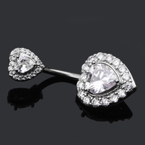 2020 Göbek göbek halkası Zirkon Glitter Çift Aşk Kalp Piercing Takı Navel Tırnak Gümüş / Pembe Altın