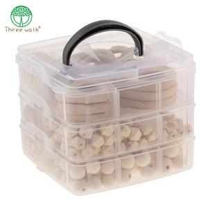 Bebê dos cuidados Jóias Combinação Package Natural Geometry Beads laváveis contas de madeira Madeira Anel DIY Teether T200730