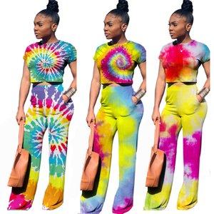 dye donne della moda Tie Imposta signore Girocollo T-shirt tops + pants 2pcs / set dipinto pigiami Imposta Maternità Abbigliamento Z1299