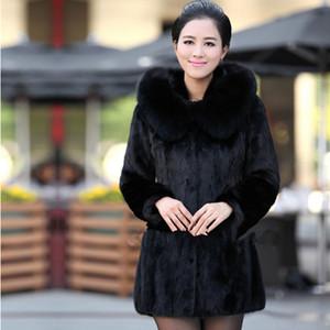 Kadın Faux Fur Coat Kış Sıcak Siyah İmitasyon Kürk Uzun Yuvarlak Yaka Şapka Mizaç Genç Lady 2020 Yeni