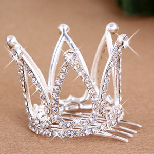 New Hot Mini Girls Rhinestone Crown Bridal Tiara Hair Comb Pin For Wedding Party free shipping ps0843