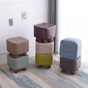 Solide Low Hocker Holzhocker Mode Haushalt Erwachsener Sitzen Pier Wohnzimmer-Sofa Hocker Kreative Stoff Stuhl Platz Bank