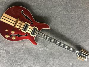 Kundenspezifische Fabrik New Jazz Guitar Hohlgitarre Hals durch Körpergitarre und metallische rote Jazz Top E-Gitarre, kundenspezifischer Service