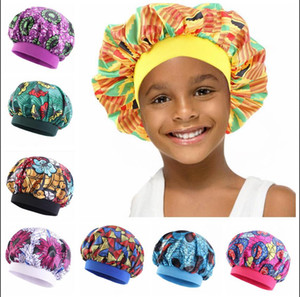 Kinder Satin Bonnets Wide Band Silk Bonnet African Night Schlaf Cap Kleinkind Haar Bonnet Sleeping Hut für Haar-Kind-Kinder Infant Newborn Baby