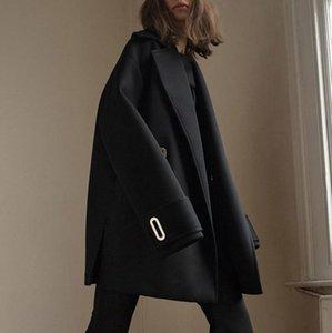 2020 Coat Yaka Metal Düğmeli Siyah Ekstra Uzun Kollu Orta uzunlukta Yün Kadın Yün Coat Kaşmir Kadınlar