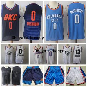 para hombre de OklahomaCiudadTruenoCamisa de baloncesto de la NBA jerseys Russell Westbrook 0 13 Paul George baloncesto pantalones cortos azul cosido Stock