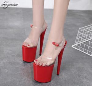 Платформа Crysta Женская обувь Сандалии летние 2020 дефиле девушки стали пробки Dancing обувь сексуальные каблуки 20см прозрачные сандалии