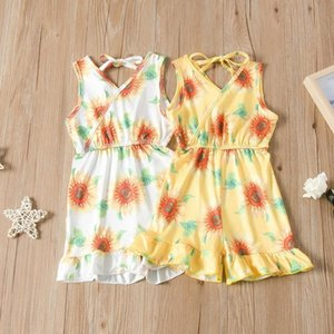 Baby Girls Sunflower Jumpsuits 2020 Summer Kids Sleeveless Floral Print Romper Boutique Causal Kids Clothing Sets