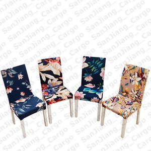 Color Flora Printed 40 Chair Covers Elastic Stretchy Slipcover Removable Chair Cover Dining Room Hotel Banquet Wedding Decoration E31402