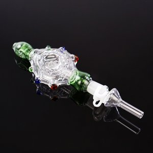 Hot sell Turtle shape portable glass smoking water pipe with 14mm Titanium Nails Oil Rigs Concentrate Honey straw Pipe