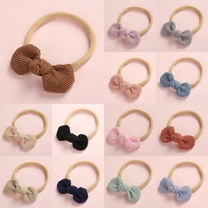 New Lovely Fashion Scrunchies Newborn Baby Knotted Bows Nylon Headband Super Soft Elastic Corduroy Hair Band Hair Accessories