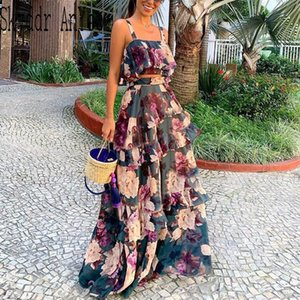 Mulheres Verão Boho Praia Two Piece Set Sexy Skirt Set Top Curto + Maxi saia longa Floral Impresso Ruffles cintura alta Casual Two Piece