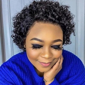 Preplucked Pixie Cut Wig Human Hair Brazilian Virgin Short Bob Full Lace Wigs With Baby Hair Curly Lace Front Wig For Black Women