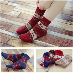 Christmas Deer Moose Design Casual Warm Winter Knit Wool Female Socks Christmas Decoration Supplies 5 Colors HH7-1858