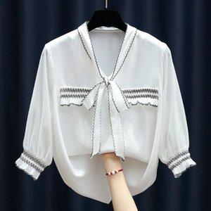 20200721 contrasto disegno assetto lace allentata sulla camicia di chiffon