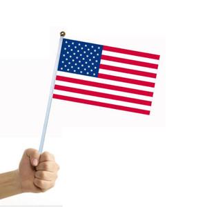 أعلام 1000PCS البسيطة أمريكا عصا العلم 14 * 21CM لوازم حفلات مهرجان العلم الأميركي البسيطة USA الوطنية الأمريكية الولايات المتحدة عصا العلم