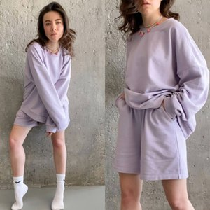Womens Tracksuits 2 Piece Set Summmer Autumn Oversize Sweatshirt + Sporting Shorts Sweat Set Two Piece Outfit Solid Color Sets T200803