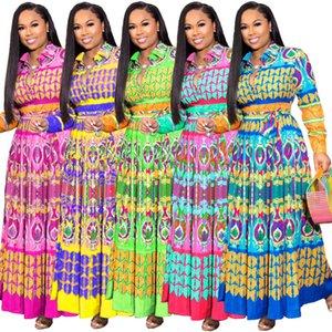 Женщины Bohemia отворотом шеи платье с длинным рукавом Slim Fit талии вниз Цветочные платья женские пояса Одежда