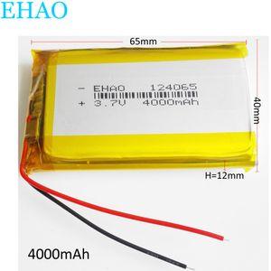 Модель 124065 3.7V 4000mAh литий-полимерная аккумуляторная батарея LiPo для DVD PAD Мобильный телефон GPS Мощность банка камеры Электронные книги Recoder TV коробка