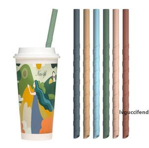 22cm Spiral Silicone Straws Colorful For Cups Food Grade Silicone Straight Spiral Straws For Bar decor milk tea Home Drinking Straws FFA4170