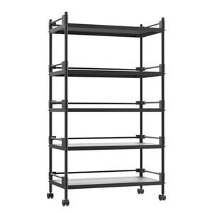 Stainless steel storage rack reinforced thickened version of the kitchen black shelf floor multi-layer removable storage rack with wheels