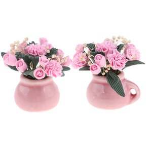 Lot 2 Dollhouse Miniature Pink Flower In Vase Dolls Family Decor Kits 1:12