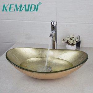 KEMAIDI Yellow Oval Glas Washroom Basin Schiff Vanity Waschbecken Badezimmer Mixer Basin Waschbecken Messingchrom-Hahn-Satz w / Drain